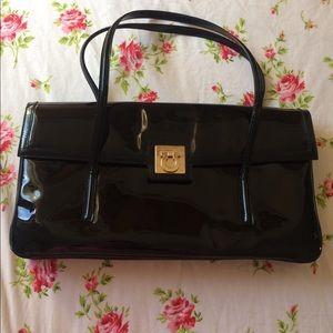 Salvatore Ferragamo Black Gancini Leather